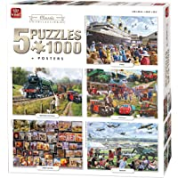 King 5210 5 Classic Collection 5 in 1 Jigsaw Puzzles - 5 x 1000-Piece Puzzle, 68 x 49 cm, Posters Included