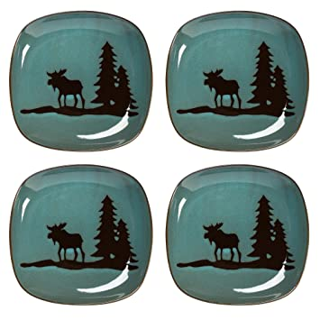 Natureu0027s Home Lodge Moose Squared Stoneware Dinner Plates Set of 4 (Teal)  sc 1 st  Amazon.com & Amazon.com | Natureu0027s Home Lodge Moose Squared Stoneware Dinner ...