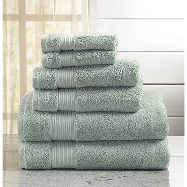 Great Bay Home 6-Piece Bath Towel Set. Includes Bath Towels, Hand Towels Washcloths. Grace Collection (Light Blue)