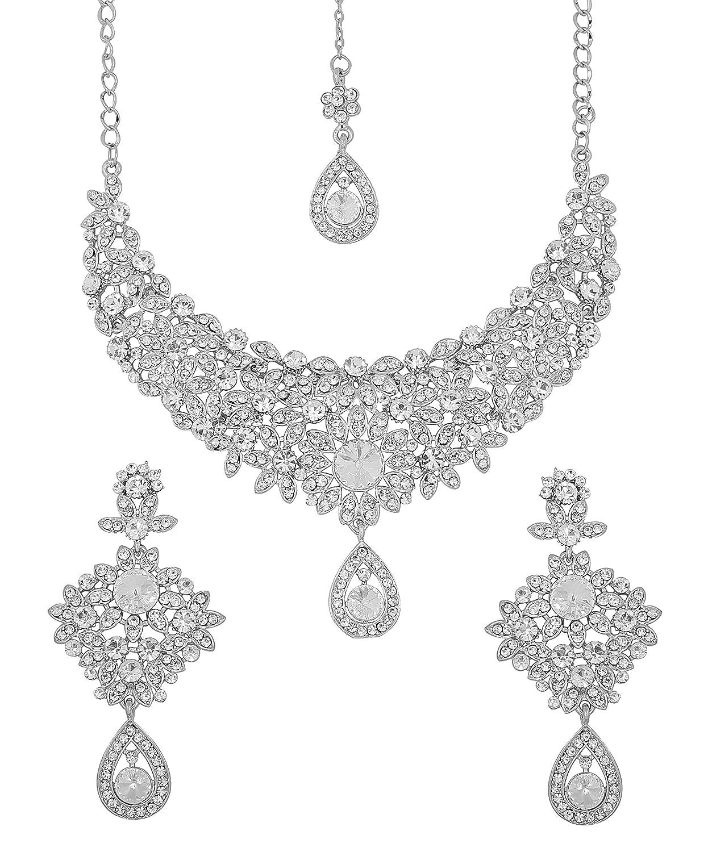 Touchstone Parure de bijoux argentée glamour pour femme, style Hollywood, pour cérémonies de mariage PWNSL300-01A--W