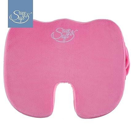 Cojín para asiento de espuma con memoria de Save&Soft - Cojín premium ortopédico para cóccix para