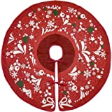 """Primode Red Xmas Tree Skirt 50"""", Jacquard Stitched Woven in Holiday Images, Holiday Tree Ornament Decoration"""