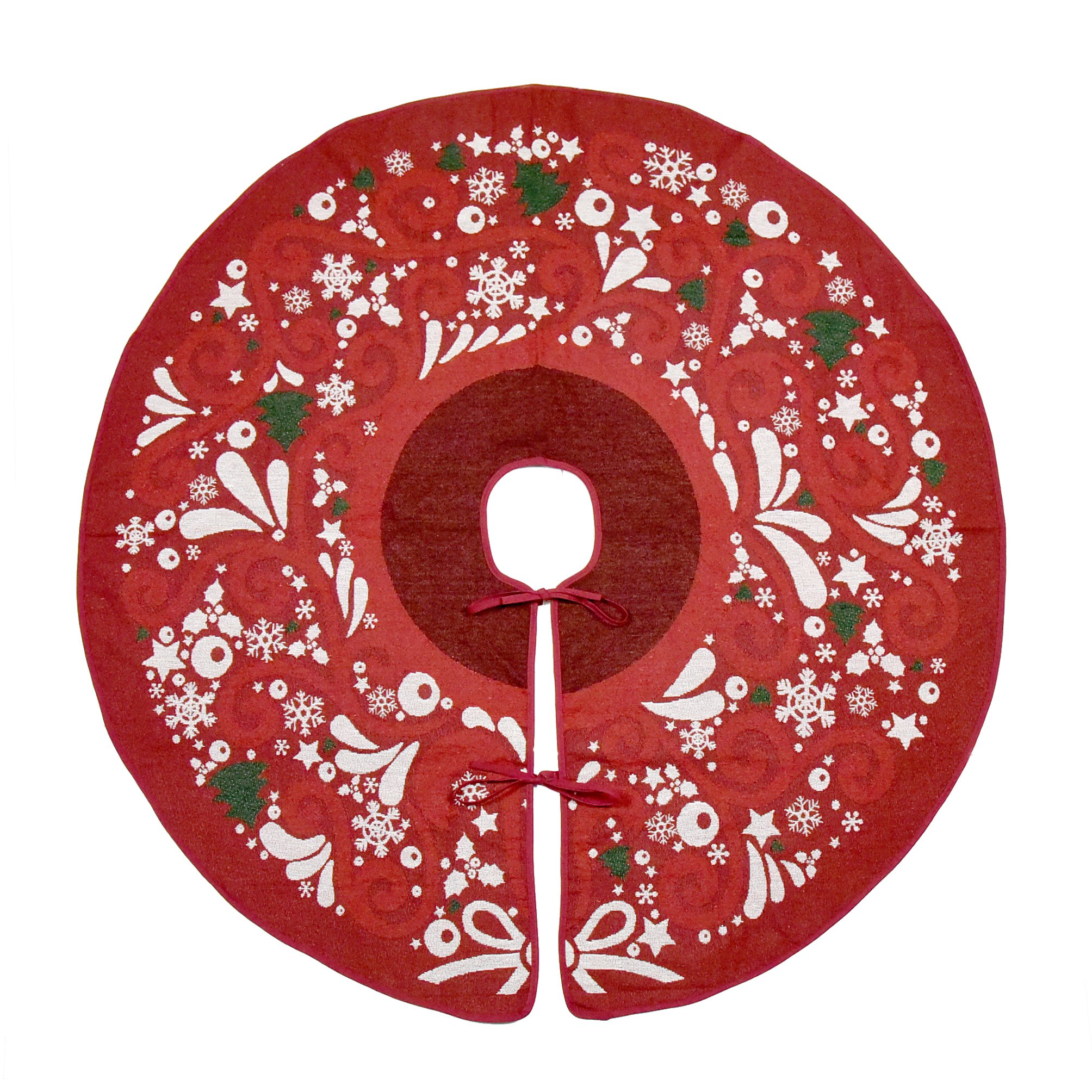 Primode Red Xmas Tree Skirt 50'', Jacquard Stitched Woven in Holiday Images, Holiday Tree Ornament Decoration