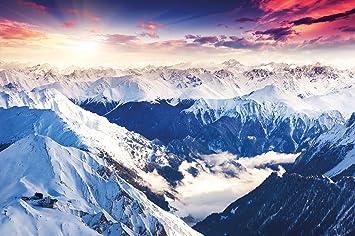 Poster Alpen Panorama Wandbild Dekoration Winter Sonnenuntergang Schnee  Landschaft Natur Berge Gletscher Gebirge Gipfel | Wandposter