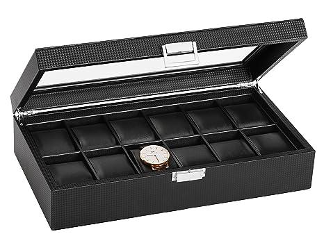 SWEETV Negro Caja para Relojes con 12 Compartimentos Joyería Soporte de Exhibición de Relojes
