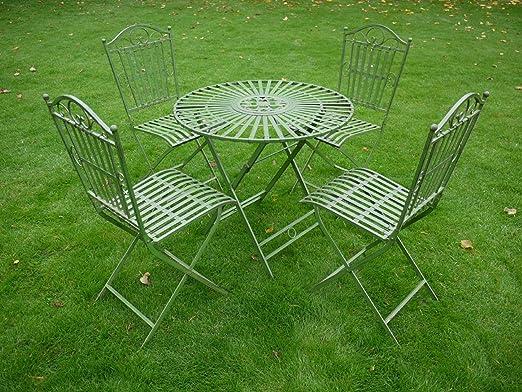 Hierro forjado 5 piezas Verde antiguo jardín Muebles estilo Bistro Set: Amazon.es: Jardín
