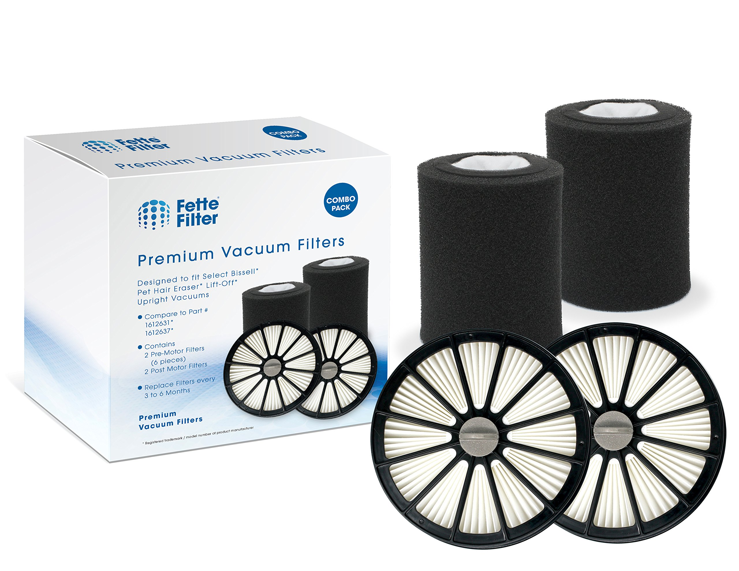 Fette Filter - Vacuum Filter Kit Compatible with Bissell Pet Hair Eraser Lift-Off 20871 & 2087. Compare to Part # 1612637 & 1612631, 161-2637 & 161-2631 Combo Pack by Fette Filter