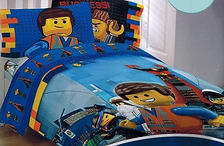 The Lego Movie Emmet Twin Sheet and Comforter Set: Amazon.co.uk ...