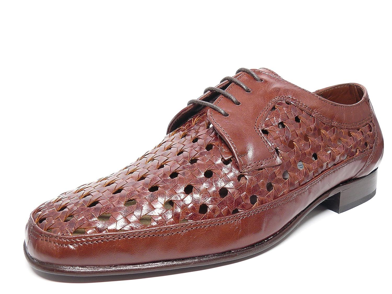 Zapato hombre trenzado con cordones vestir en piel de cabra marron jacinto marca DONATTELLI 7338 - 6 45|Marron