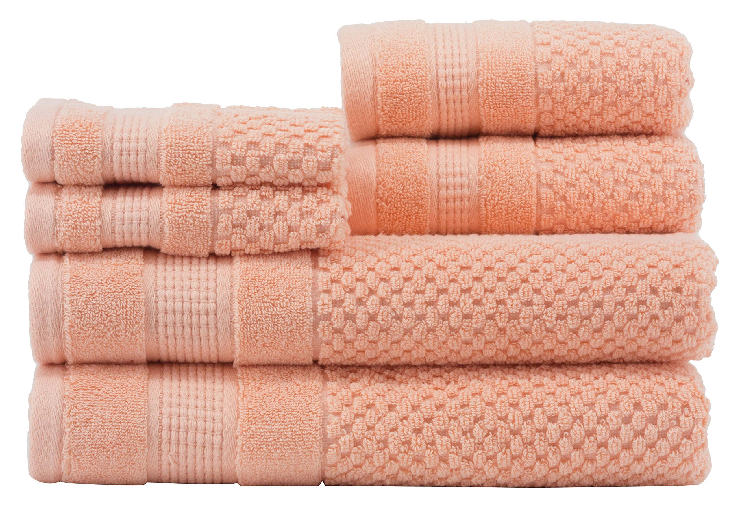 Caro Home Pebble 6 Piece Bath Towel Set, Large, Sherbet