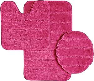 Ribbed Design Soft Pile Solid Color 3 Piece Bathroom Rug Set, Bath Mat, Contour Rug, Universal Lid Cover, Louise (Fuchsia)