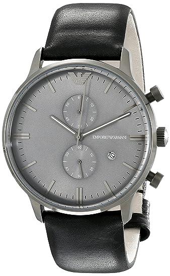 Emporio Armani AR0388 - Reloj analógico de cuarzo para hombre, correa de cuero color negro: Amazon.es: Relojes