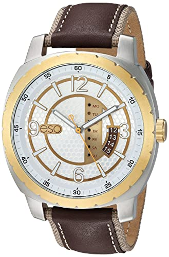 ESQ Mens Quartz Stainless Steel and Leather Casual Watch