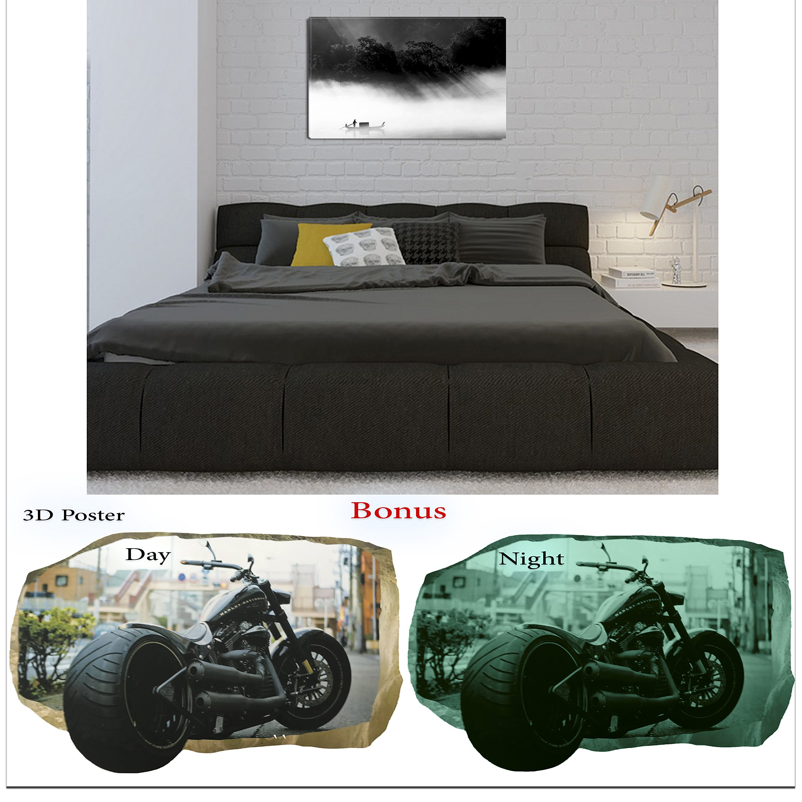 Startonight Black and White Wall Art Canvas Bundle Thai Living, Abstract Framed Painting, Free Gift 3D Poster Photography for Real Men