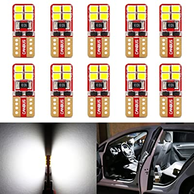 Phinlion Super Bright 2835 8-SMD LED Bulbs for Car Interior Dome Map Door Courtesy License Plate Lights Wedge T10 168 194 2825 6000K Xenon White (10 Pack): Automotive