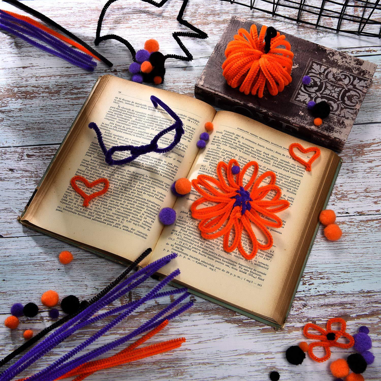 500 Piezas de Pompones de Halloween y 150 Piezas de Limpiapipas Tallos de Chenille para Manualidades Halloween Materiales de Fiesta