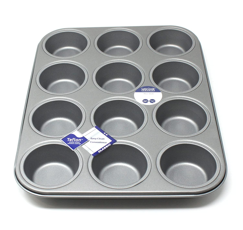12 Hole Deep Muffin Pan Tin Baking Tray with Teflon /Â/®TM Non-Stick