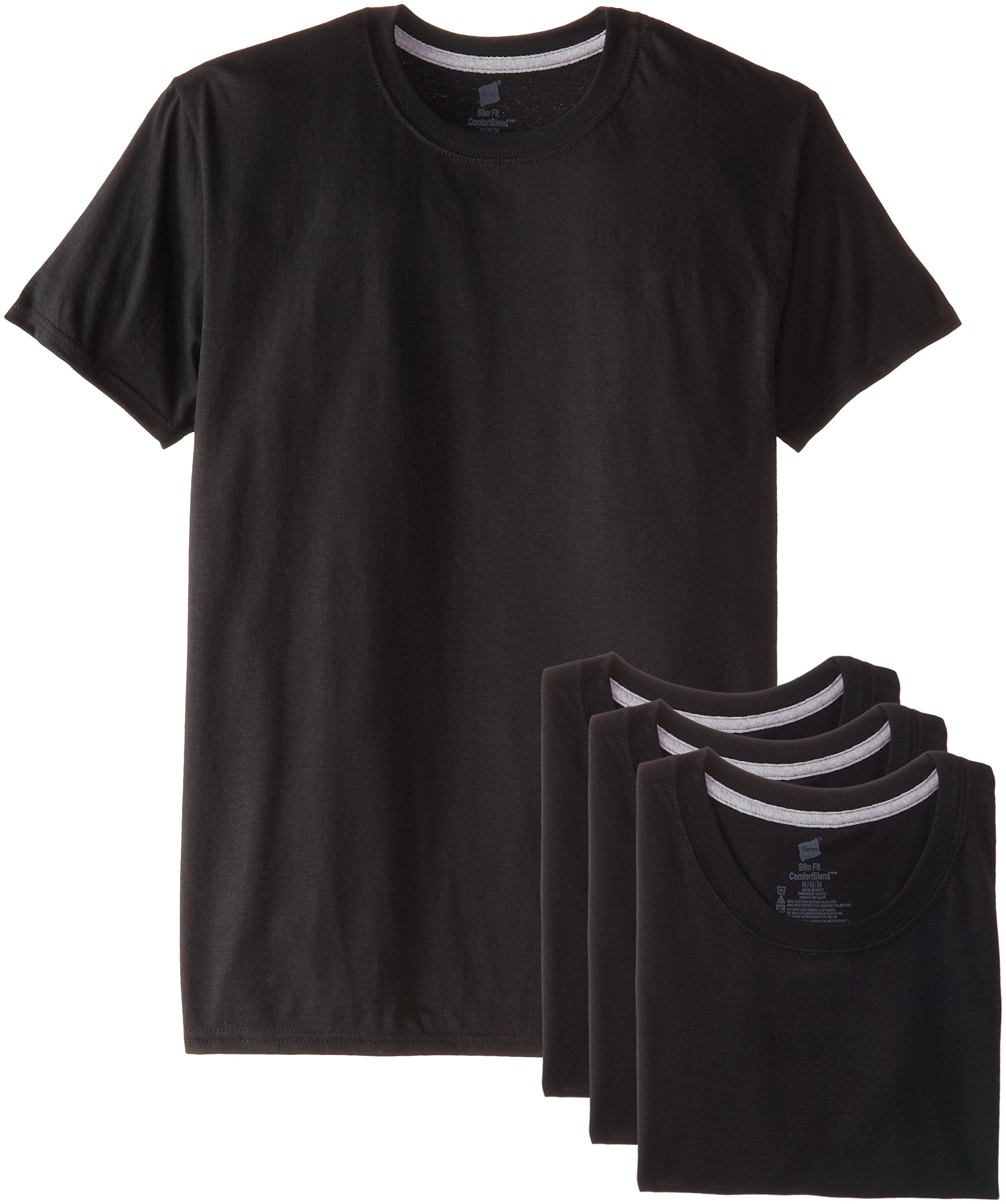 Hanes Ultimate Men's 4-Pack FreshIQ Black Slim Fit Crew T-Shirt,Black,X-Large