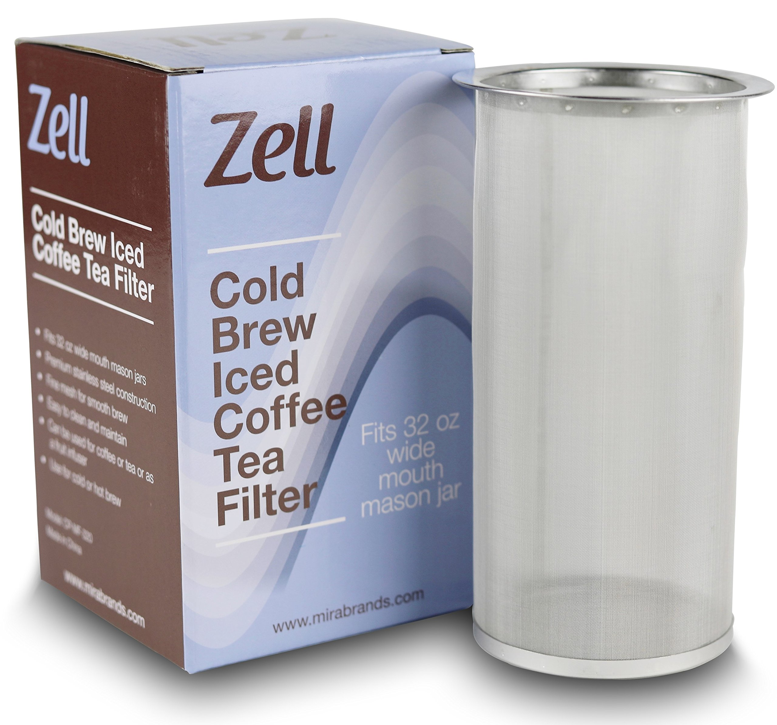 Zell Cold Brew Coffee Maker, Iced Coffee & Tea Maker Infuser for Mason Jars | Durable Fine Mesh Stainless Steel Coffee Maker Filter | 32 Oz (1 Quart)
