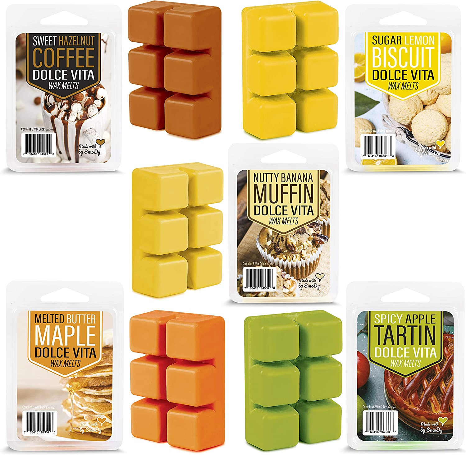 SmoDy Wax Melts Fall Scents (Sweet) 3 Ounces x 5 Highly Scented Soy Wax Cubes for Electric Warmer and Burner | Long Lasting Fragrances - Coffee, Biscuit, Banana Nut, Maple and Apple Spice | Great Gift