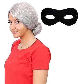 Mujer Gánster Abuela Peluca y máscara ideal para ESCUELA LIBROS LA SEMANA CARNAVAL O Cualquier adulto