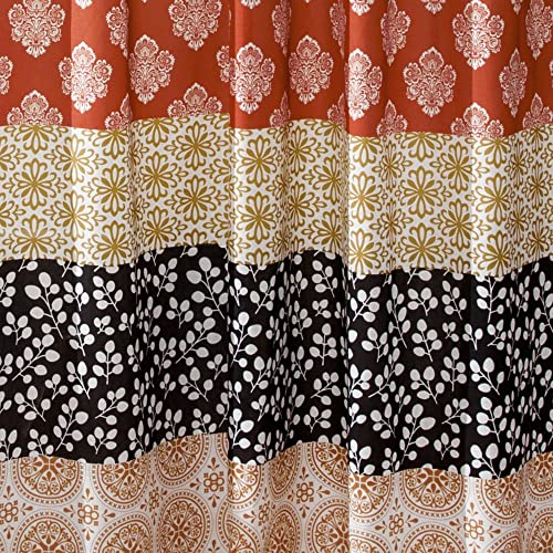 Lush Decor Lush D cor Turquoise and Orange Bohemian Stripe Window Curtain Colorful Bold Design Panel Pair, 108 Long x 52 Wide