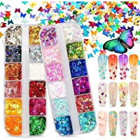 SAQ 12 Grid Bright Butterfly Nail Glitter Sequins 3D Holographic Nail Art Decorations
