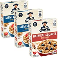 Deals on 3-Pack Quaker Oatmeal Squares Breakfast Cereal 14.5 oz