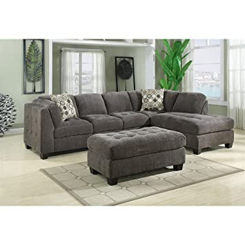 emerald home furnishings trinton 2 piece sectional lsf sofa and rsf chaise standard grey - 2 Piece Sectional