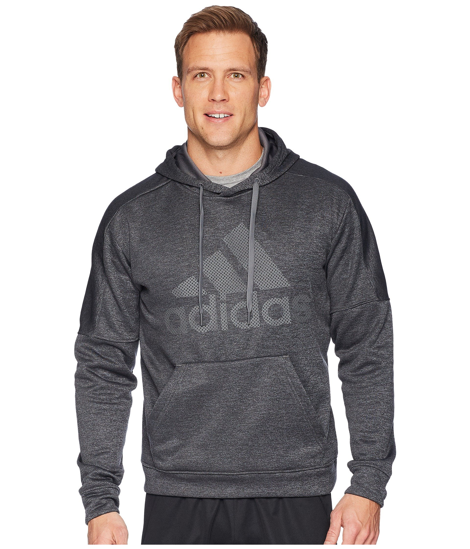 adidas Men's Team Issue Pullover Logo Hoodie Dark Grey Melange/Dark Grey Melange/Grey Five Large