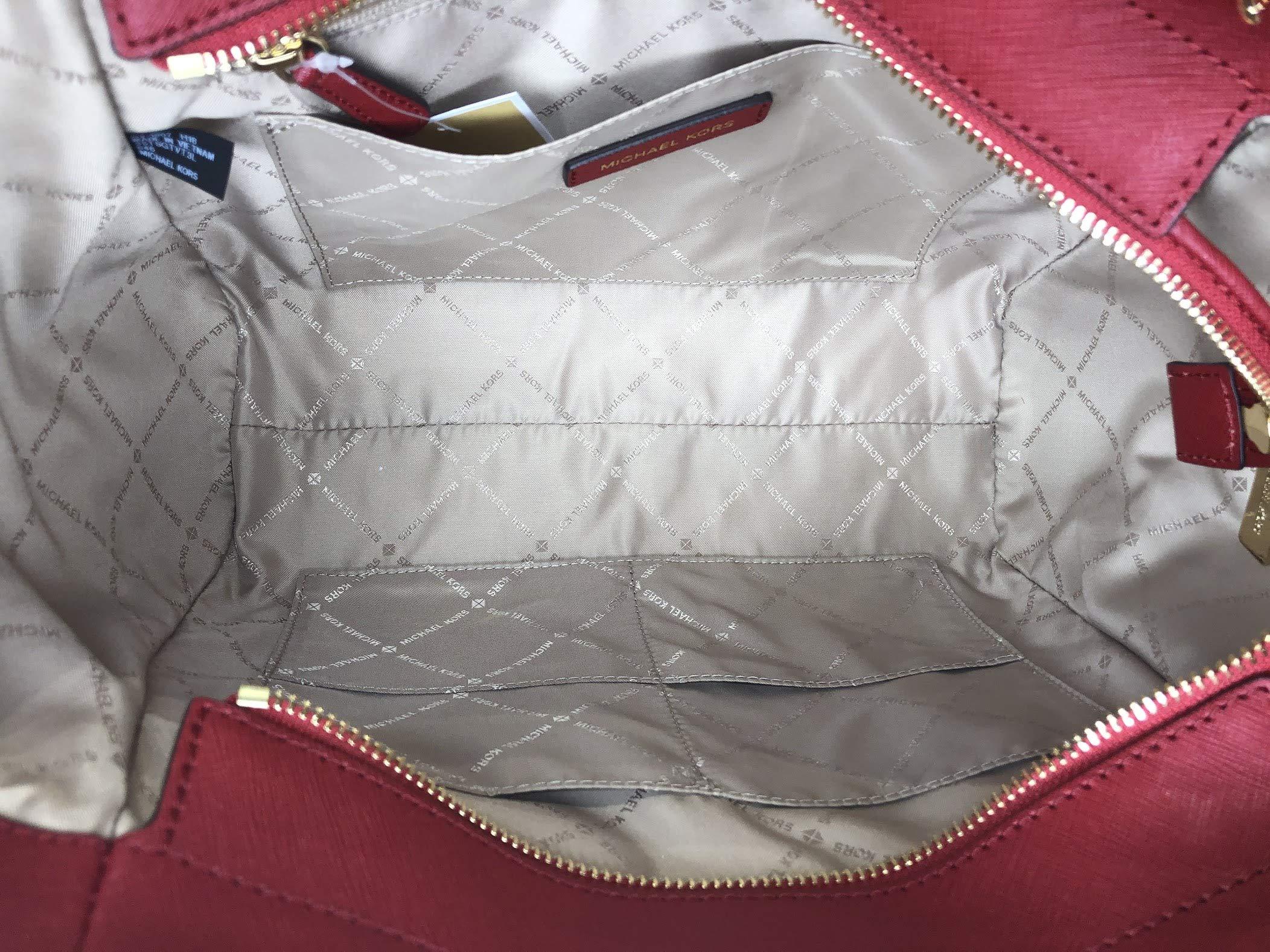 MICHAEL Michael Kors Jet Set Travel Large Chain Shoulder Tote bundled with Large Flat MF Phone Case Wallet Wristlet (Scarlet) by Michael Kors (Image #6)