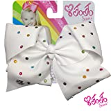 JoJo Siwa Signature Collection Hair Bow with Pastel Rhinestones - White - Sticker Patch Set Included