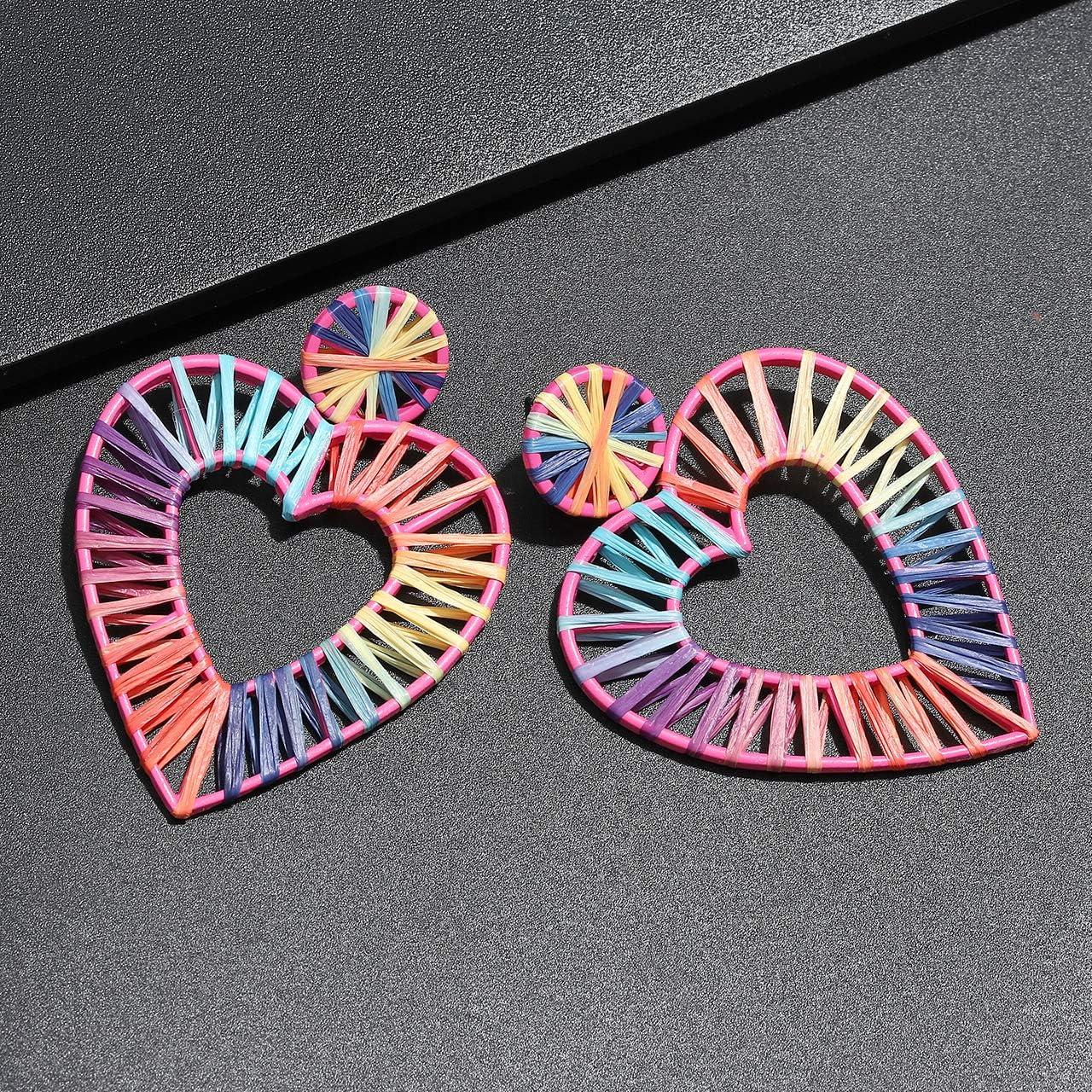 CEALXHENY Raffia Drop Earrings Weave Straw Raffia Hoop Earrings Lightweight Statement Rainbow Dangle Earring for Women Girls