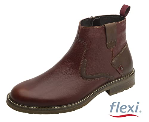Flexi Shoes - Botas de Piel para Hombre Marrón Marroon, Color Marrón, Talla 45 EU: Amazon.es: Zapatos y complementos