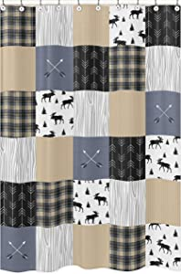 Sweet Jojo Designs Blue, Tan, Grey and Black Woodland Plaid and Arrow Bathroom Fabric Bath Shower Curtain for Rustic Patch Collection