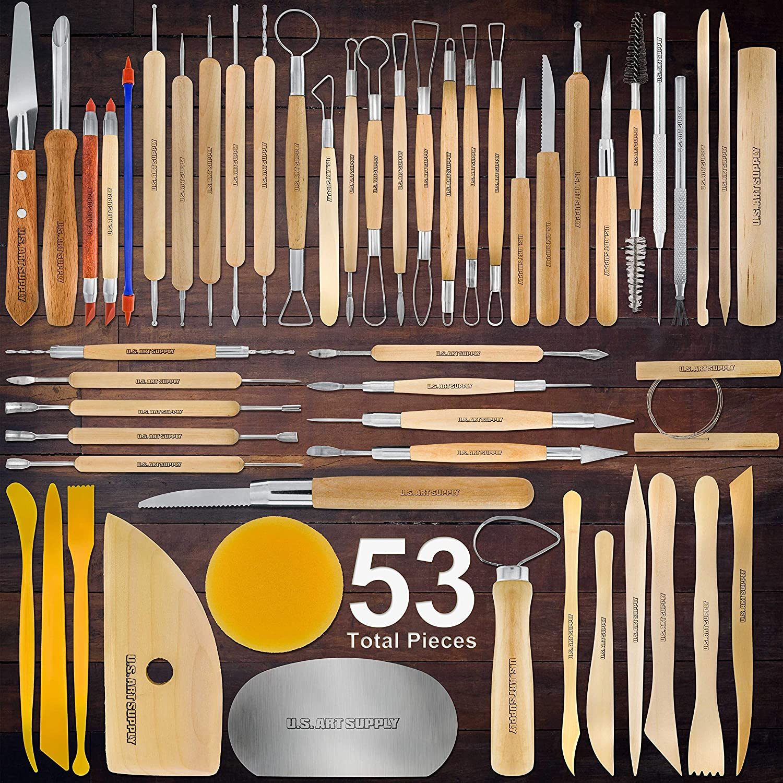 U.S Art Supply 53 Piece Pottery /& Clay Sculpting Tool Set with Hard Plastic Storage Box