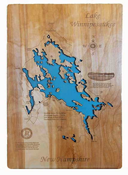Amazoncom Wood Map Wall Hanging Lake Winnipesaukee New Hampshire