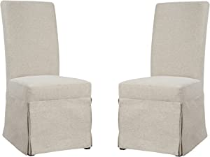 Emerald Home Paladin Rustic Charcoal and Buff Linen Upholstery, Gunmetal Gray Harware Upholstered Dining Chair with Skirted Base, Set of Two