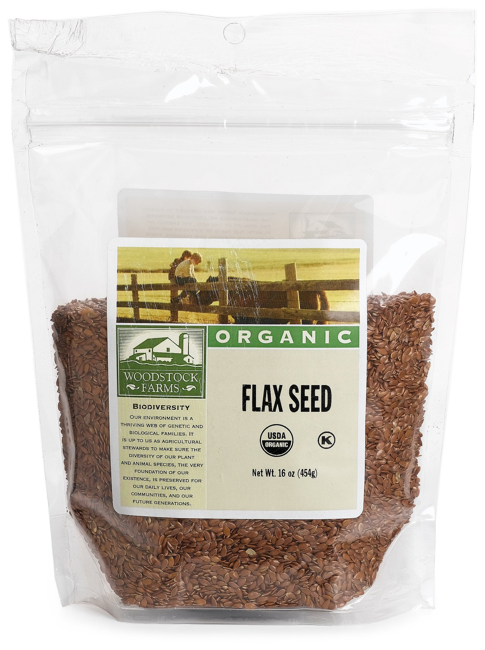 Woodstock Farms Flax Seed, Organic, 14-Ounce Bags (Pack of 8)