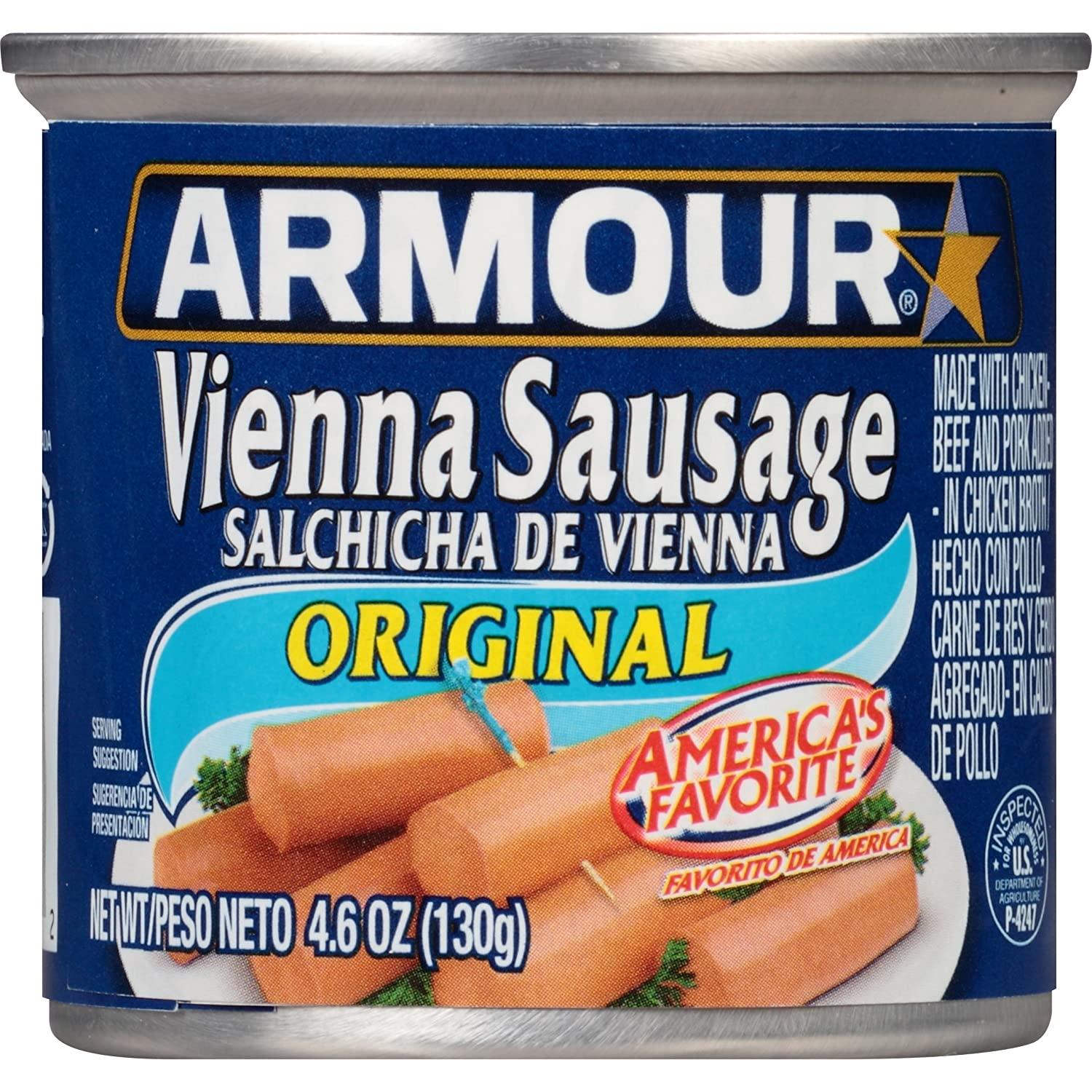 Armour Star Vienna Sausage, Original Flavor, Canned Sausage, 4.6 OZ