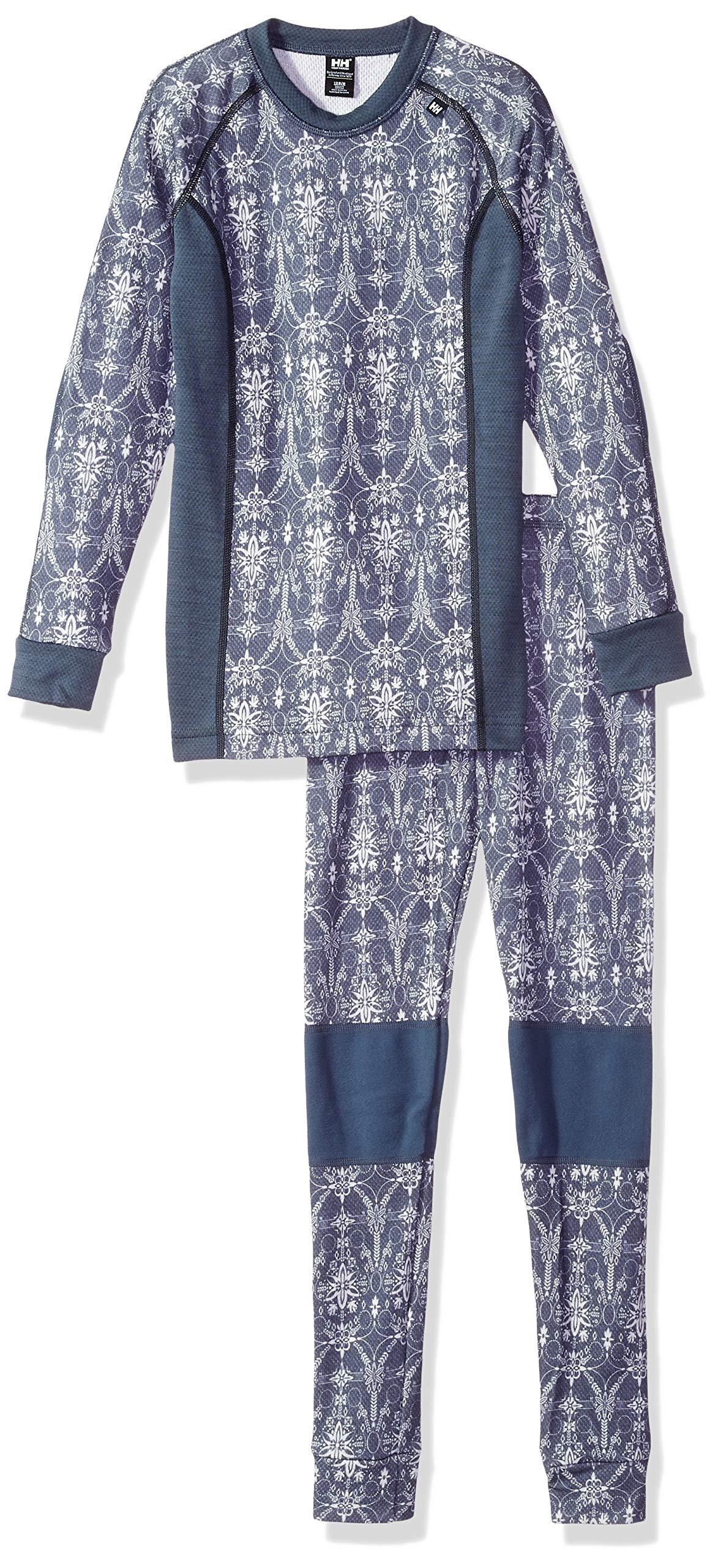 Helly Hansen Jr LIFA Merino Set 2 Wool Baselayer, Vintage Indigo/Frost, Size 16