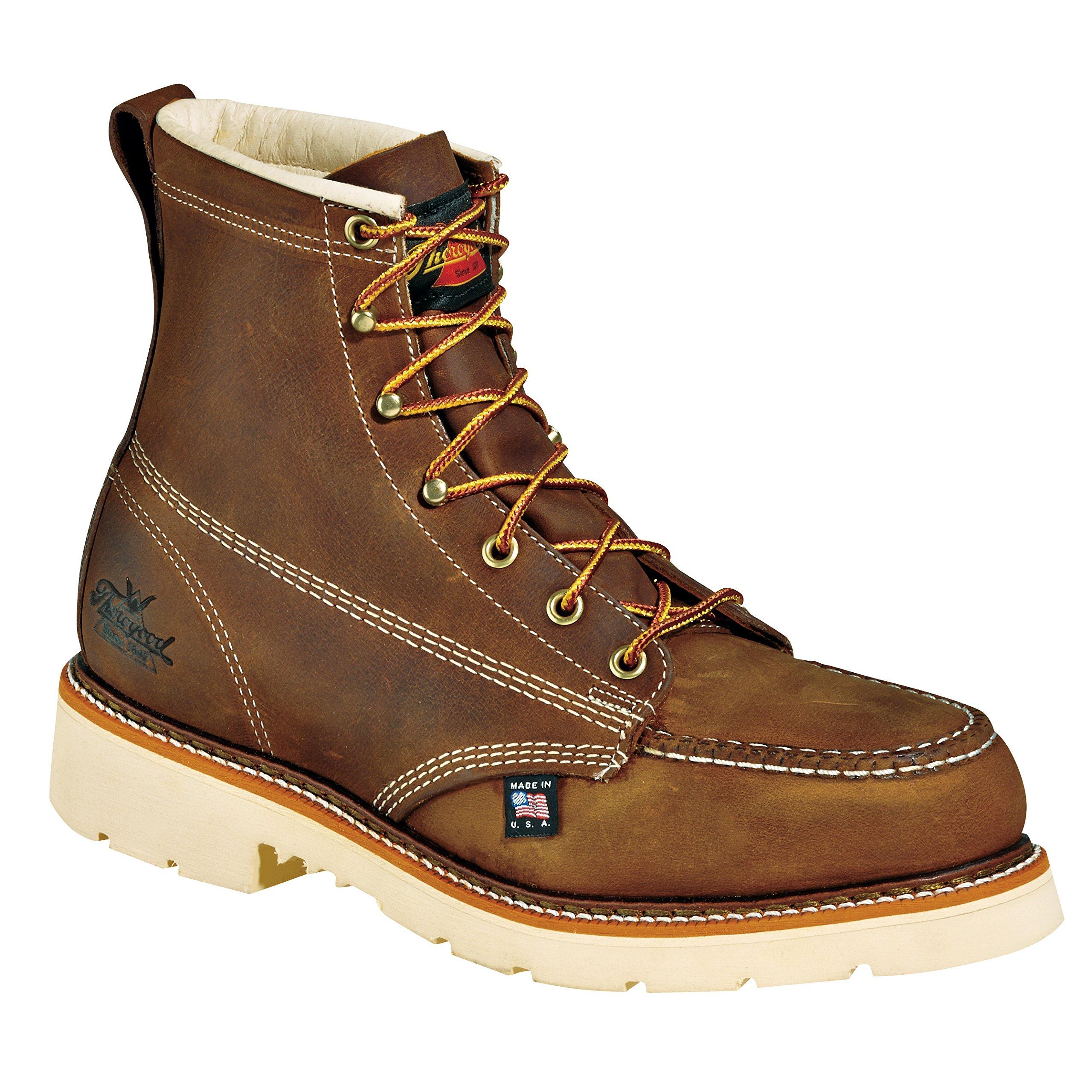 Thorogood 804-4375 Men's American Heritage 6'' Moc Toe, MAXwear 90 Safety Toe Boot, Trail Crazyhorse - 12 2E US