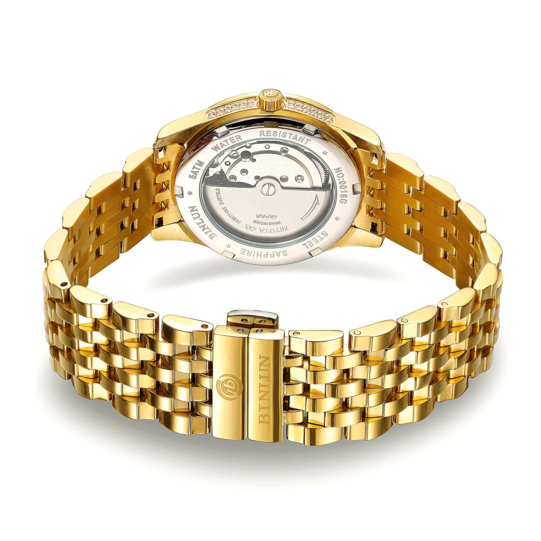 7dd5a1ad09 Amazon | 腕時計 ゴールド メンズ BINLUN スタンダード 機械式 自動巻き 防水 シンプル ダイヤモンド入り シースルーバック 金腕時計  [並行輸入品] | メンズ腕時計 ...
