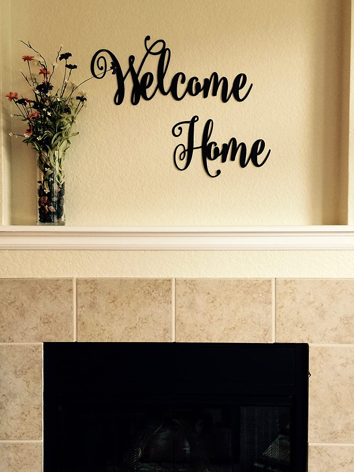 Amazon.com: Welcome Home- Metal Lettering | Metal Wall Art | Cursive ...