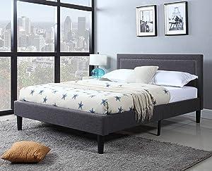 Divano Roma Furniture Upholstered Tufted Headboard & Bed Frame-32 Tall Stitched Platform Panel, Low Profile Bedframe Mattress Foundation/Solid Wood Slat Base – No Box Spring Needed, Full, Dark Grey