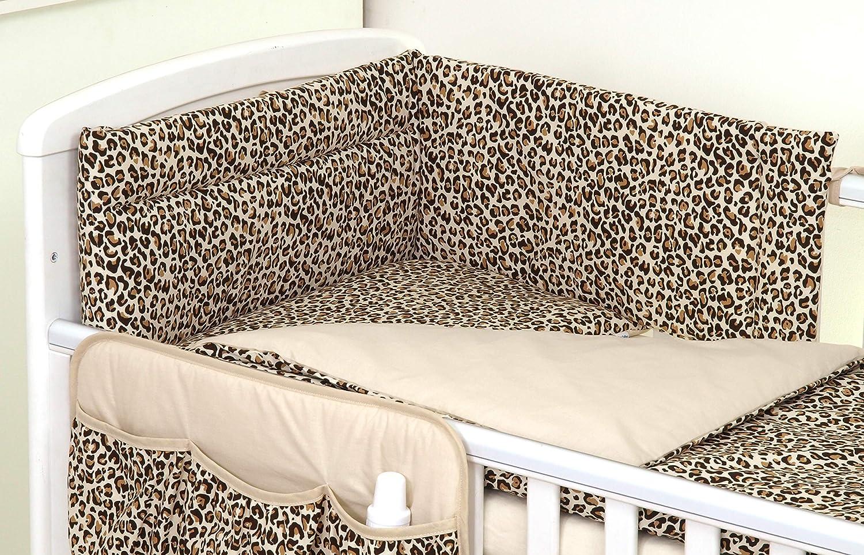 Pro Cosmo 10 Piezas Juego de Ropa de Cama para Cuna beb/é//Edred/ón Protector Dosel 120x60cm, Animal Print Jaguar Animales Patr/ón de Leopardo Marr/ón