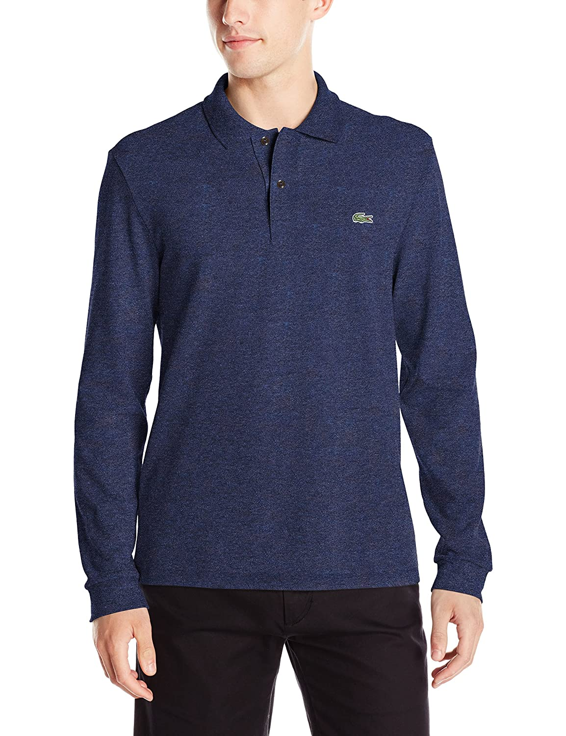 c5fee2de8c39e Lacoste Men s Long Sleeve Classic Chine Pique Polo