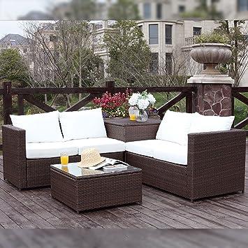 Concept-Usine Silang marron/blanc : salon de jardin en résine ...