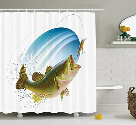 Fishing Shower Curtain By Ambesonne Largemouth Sea Bass Catching A Bite In Water Spray Motion