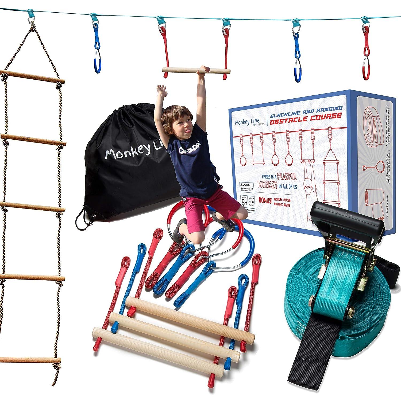 Ninja Warrior Obstacle Kit The Perfect Outdoor Ninja Line Hanging Obstacle Course Ninja Warrior Training Equipment Kids 50 Feet W// Ladder